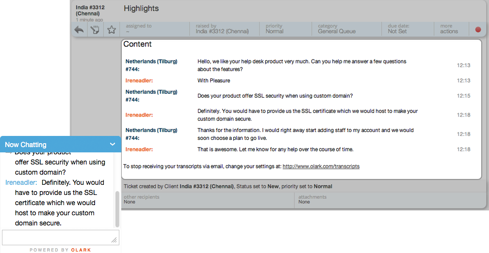 Convert Olark customer support live chat as HappyFox Helpdesk