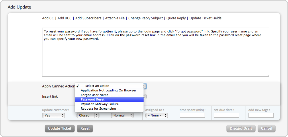 Add pre defined canned responses on your help desk tickets