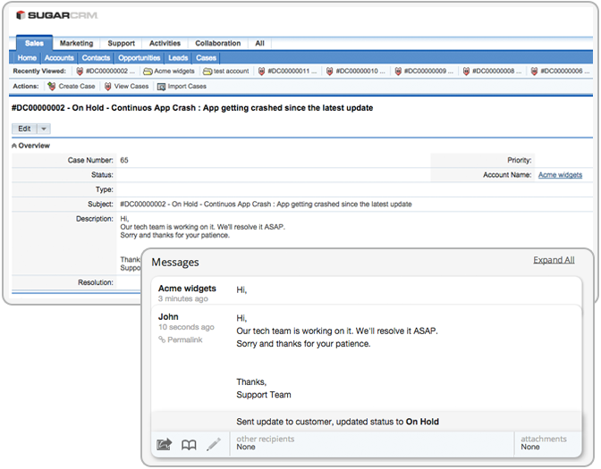 customer information from crm on your help desk