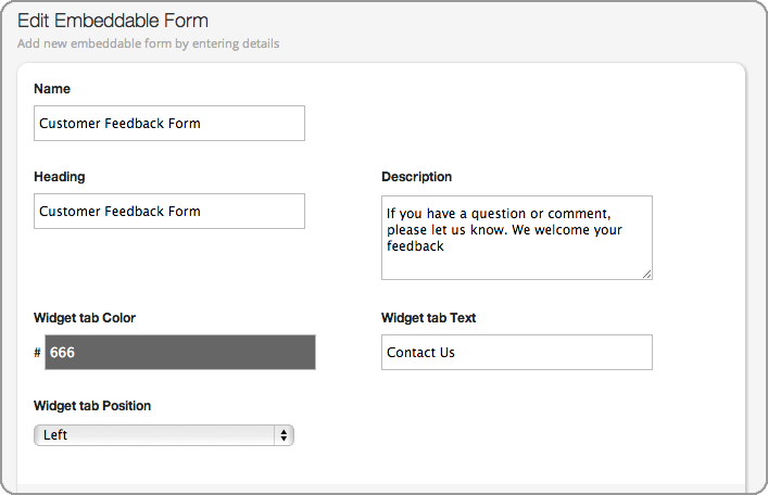 Custom Customer Contact And Feedback Form