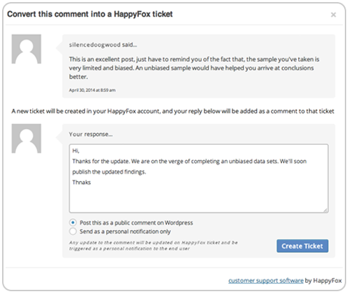 Convert wordpress blog comments into help desk tickets