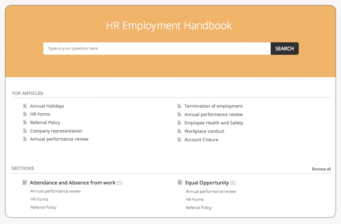 HR knowledgebase and Self service software