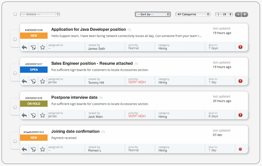 Process job application using Happyfox Help Desk