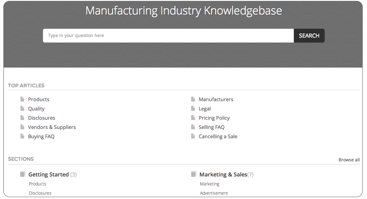 Knowledgebase FAQ software for manufacturing industries