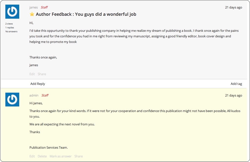 Feedback management for publishing and media companies