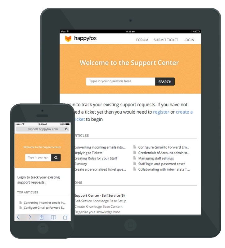 Access support center and knowledge base on your mobile devices