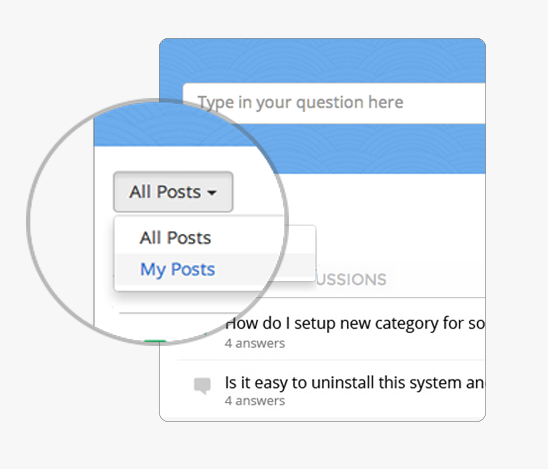 switch between all posts and your posts