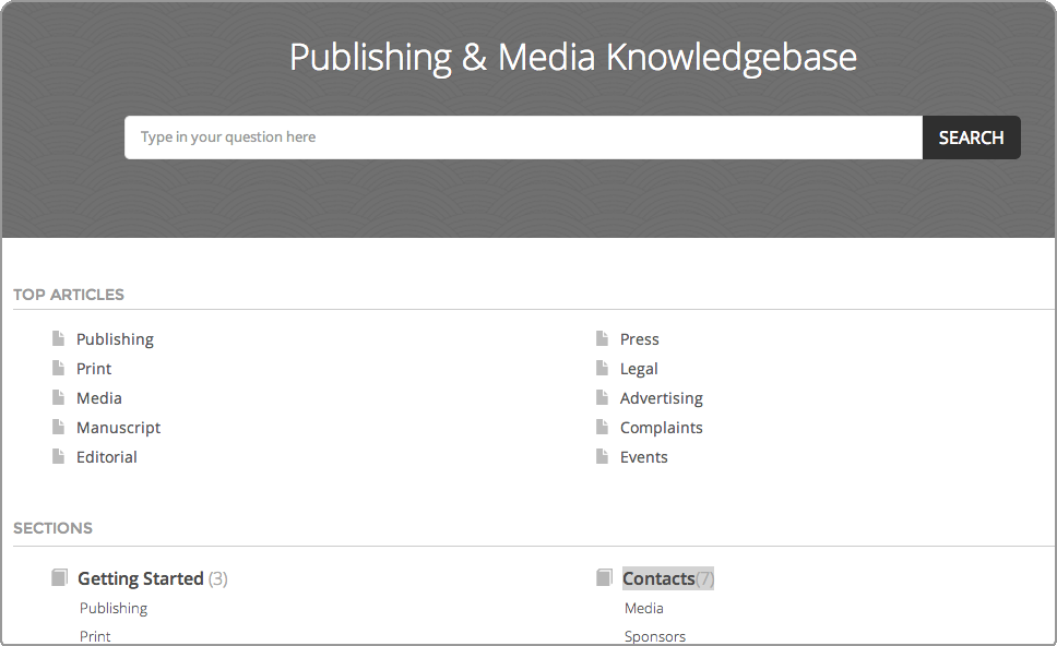 FAQ knowledgebase software for media, event management and print companies