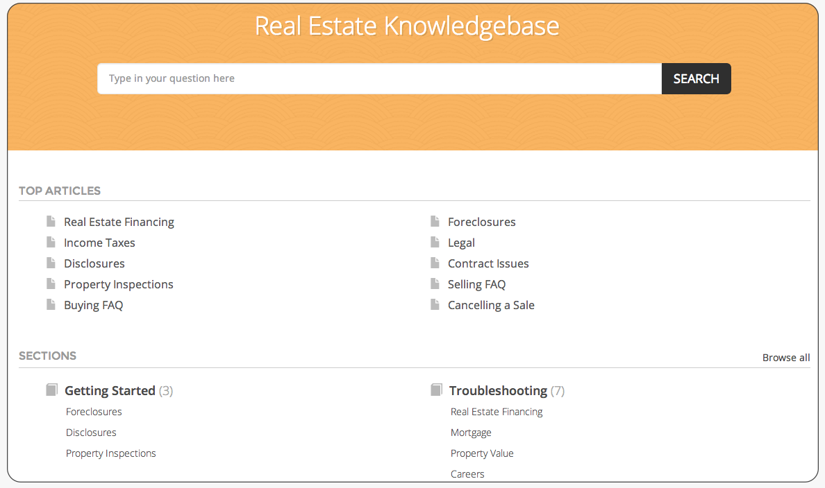 self service knowledgebase software for real estate business