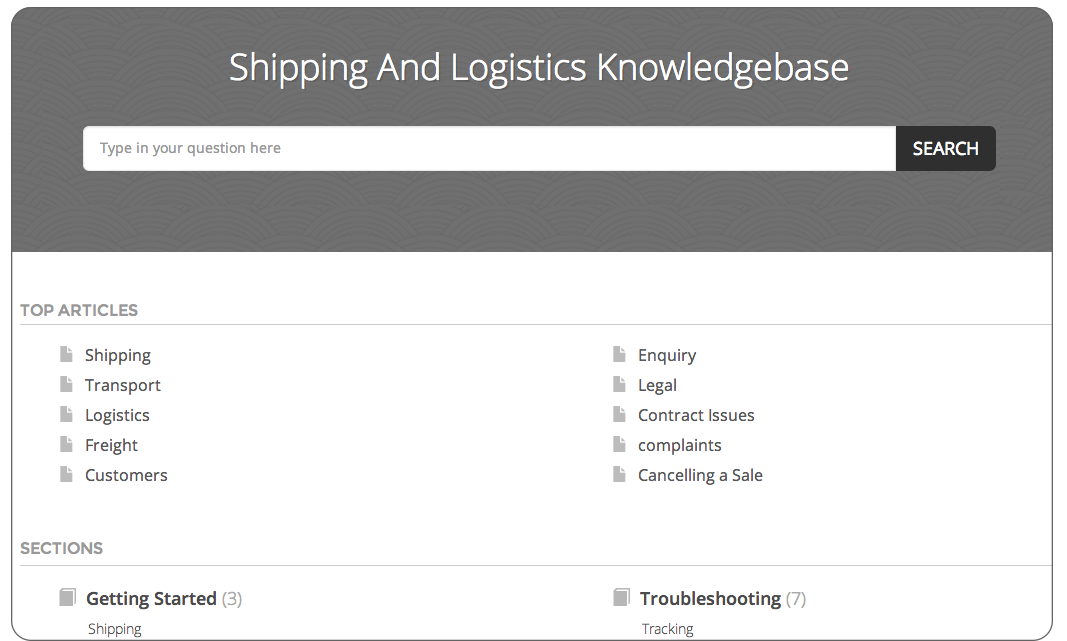 Knowledge base FAQ software for shipping and logistics