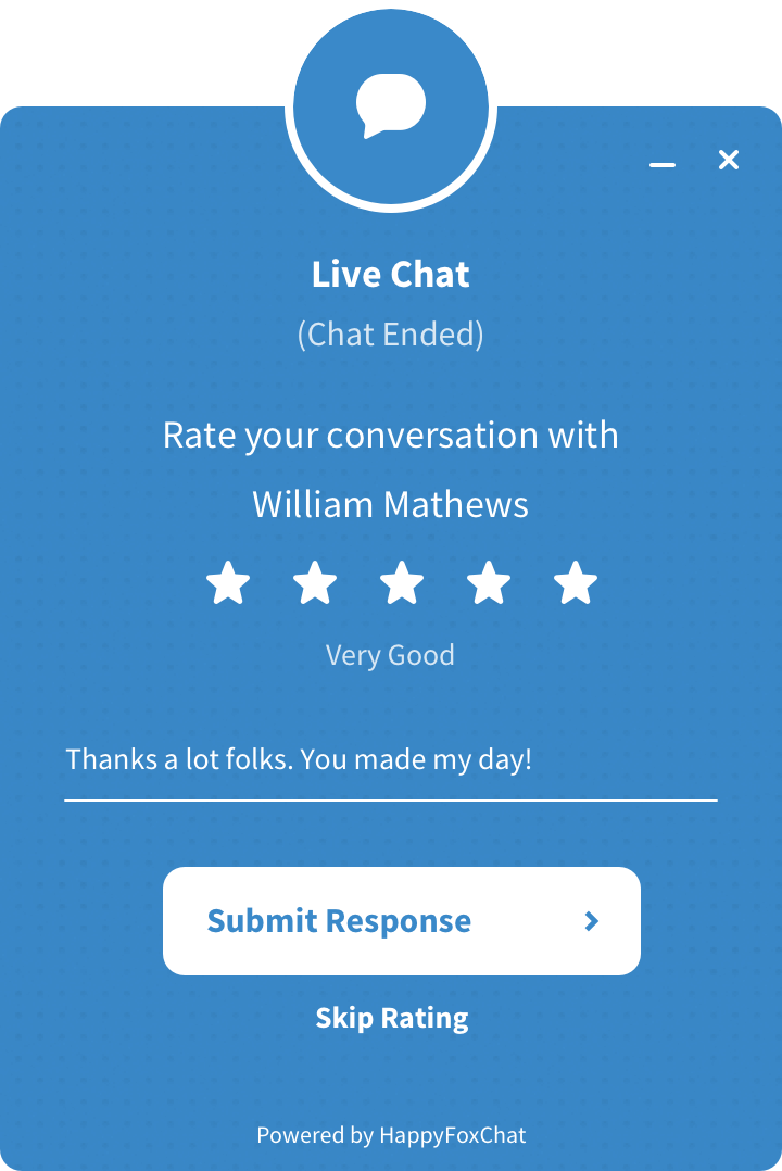 Live chat canned response
