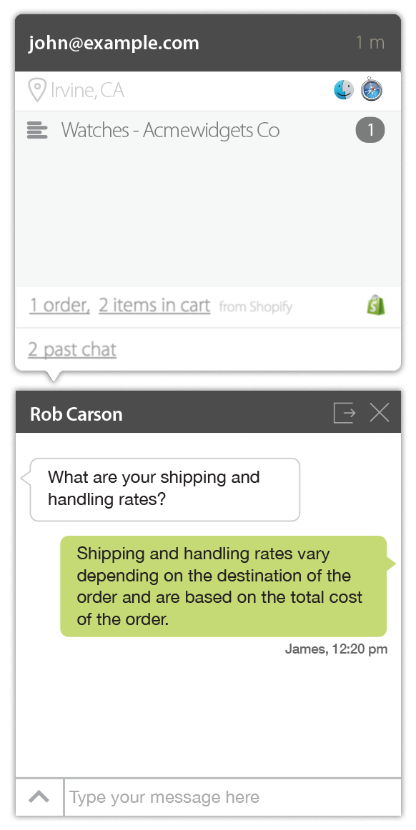 Shopify store information on your live chat