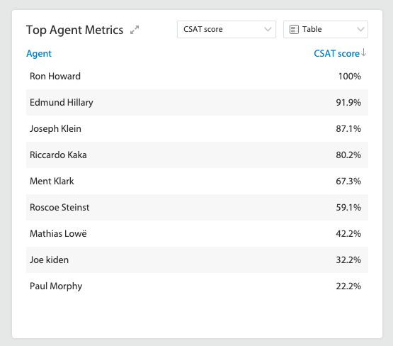 Identify agents with Top CSAT score